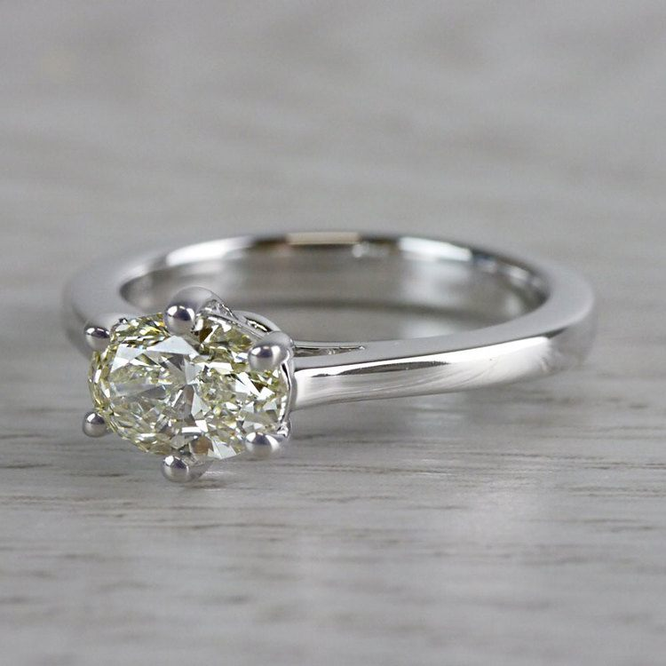 Petite Oval Diamond Solitaire Engagement Ring angle 2