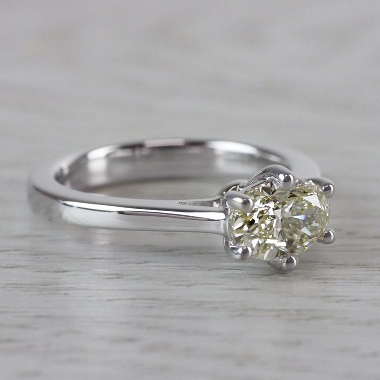 Petite Oval Diamond Solitaire Engagement Ring angle 3