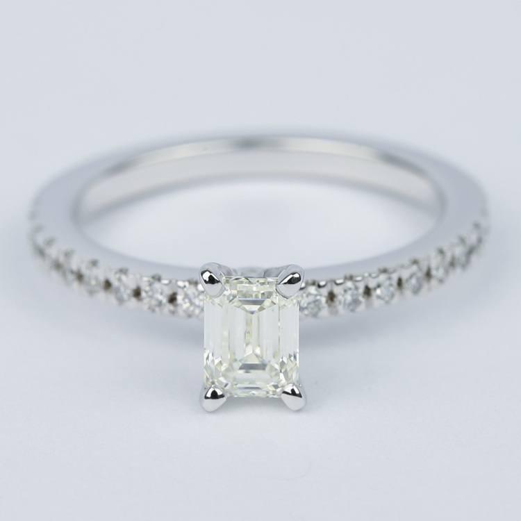 Petite-Pave Emerald Diamond Engagement Ring (1/2 Carat)