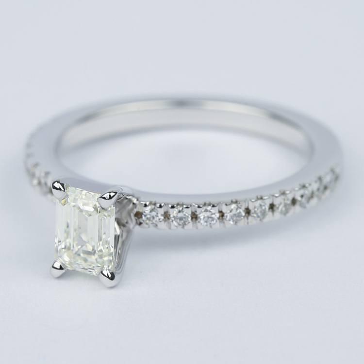 Petite-Pave Emerald Diamond Engagement Ring (1/2 Carat) angle 2