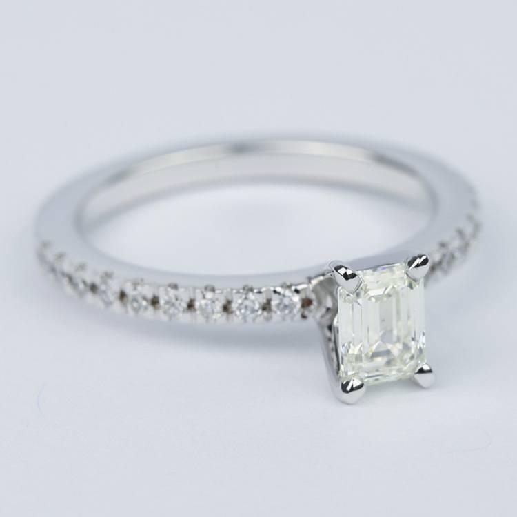 Petite-Pave Emerald Diamond Engagement Ring (1/2 Carat) angle 3