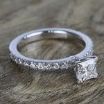 Near-Flawless Princess Diamond Pave Engagement Ring - small angle 3
