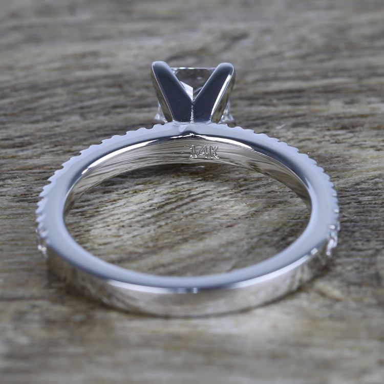 Near-Flawless Princess Diamond Pave Engagement Ring angle 4
