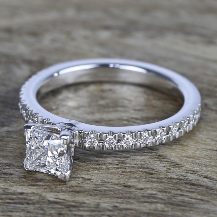Near-Flawless Princess Diamond Pave Engagement Ring angle 2