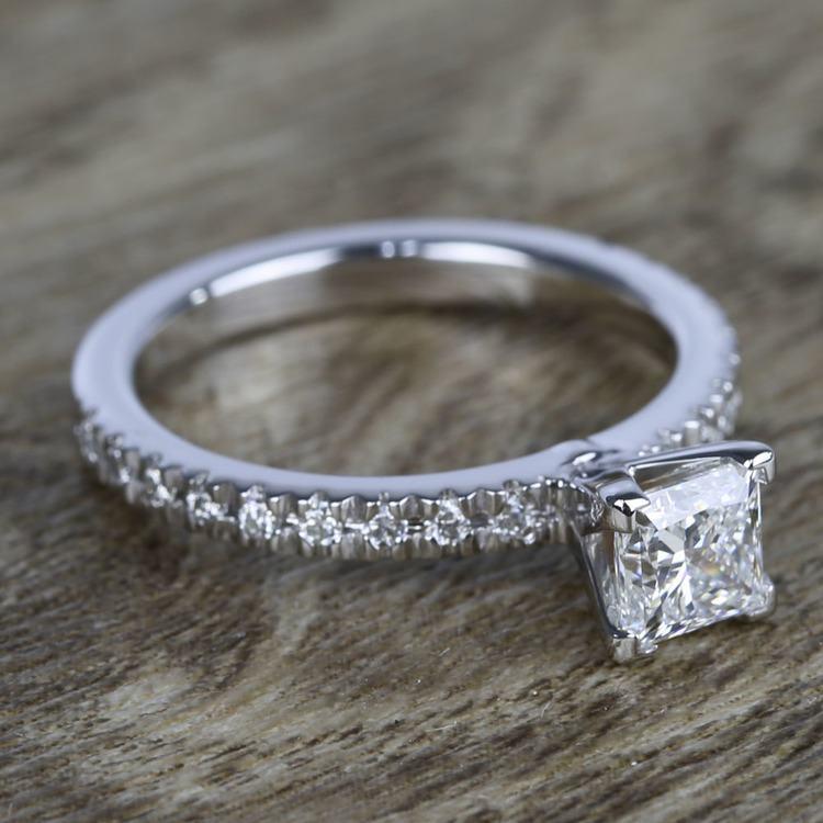 Near-Flawless Princess Diamond Pave Engagement Ring angle 3