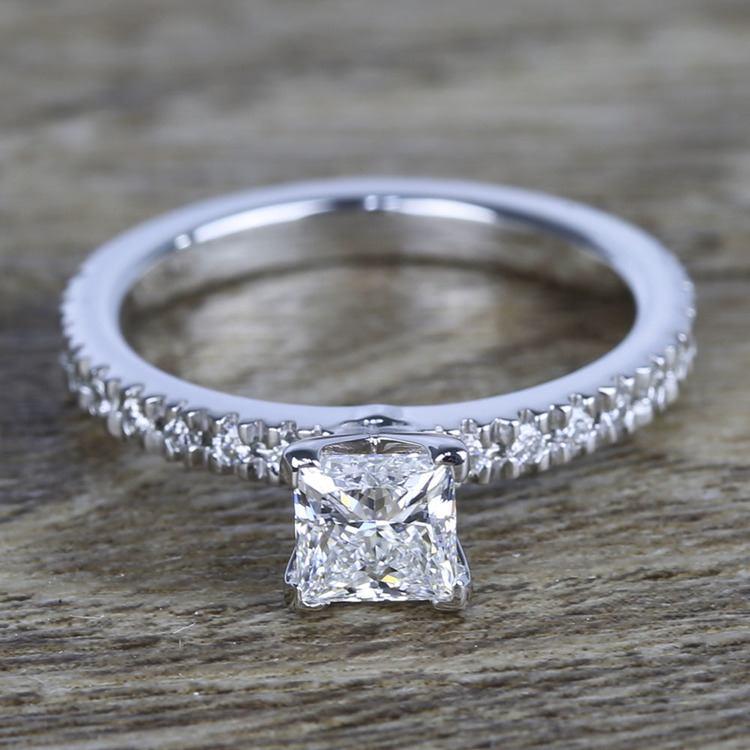 Near-Flawless Princess Diamond Pave Engagement Ring