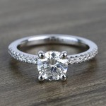 Petite Pave 0.85 Carat Round Diamond Engagement Ring - small