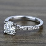 Petite Pave 0.85 Carat Round Diamond Engagement Ring - small angle 2