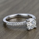 Petite Pave 0.85 Carat Round Diamond Engagement Ring - small angle 3