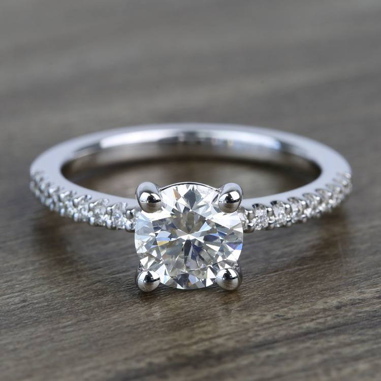 Petite Pave 0.85 Carat Round Diamond Engagement Ring