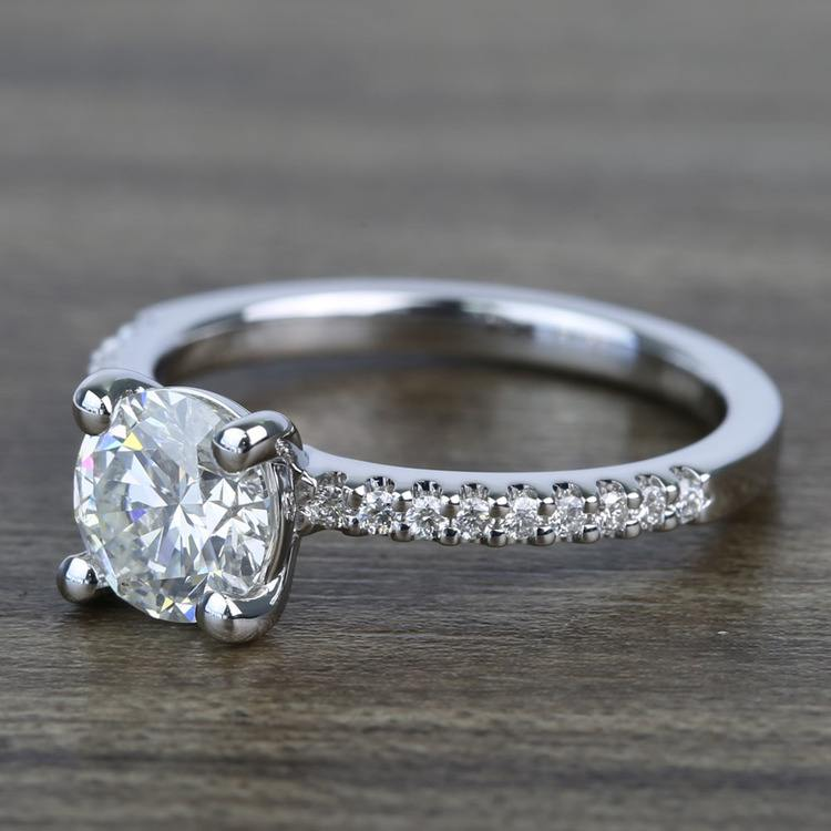 Petite Pave 0.85 Carat Round Diamond Engagement Ring angle 2
