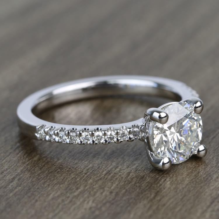 Petite Pave 0.85 Carat Round Diamond Engagement Ring angle 3