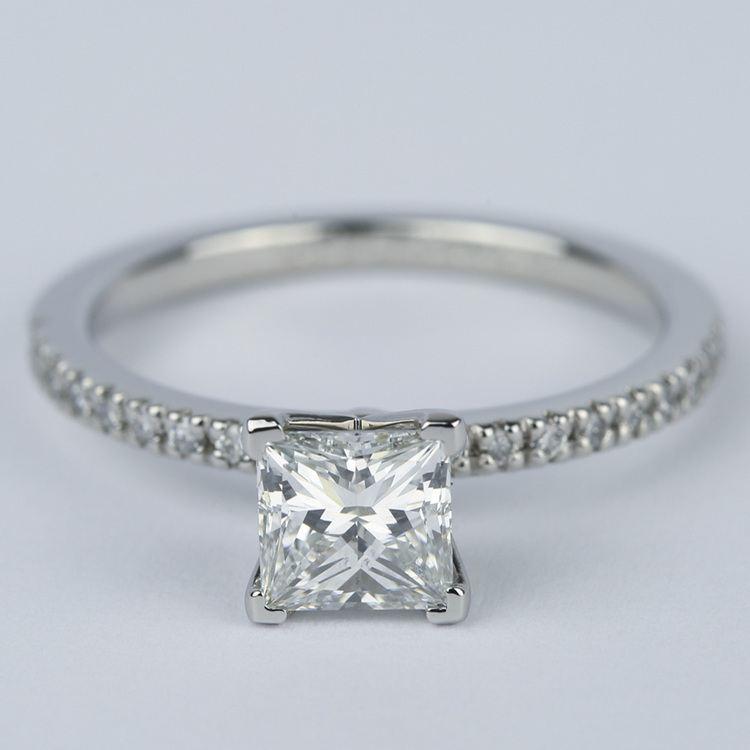 Petite Pave 1.01 Carat Princess Diamond Engagement Ring