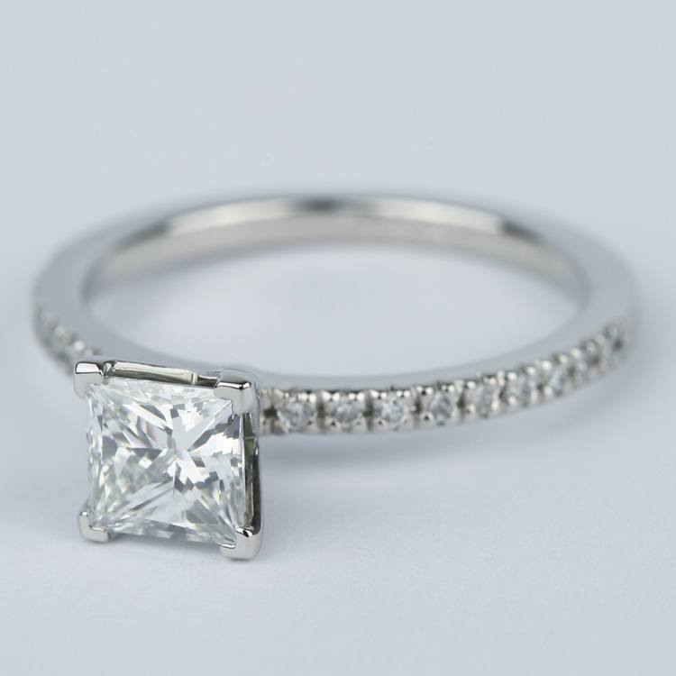Petite Pave 1.01 Carat Princess Diamond Engagement Ring angle 2