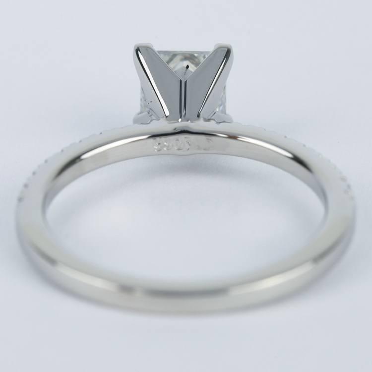 Petite Pave 1.01 Carat Princess Diamond Engagement Ring angle 4
