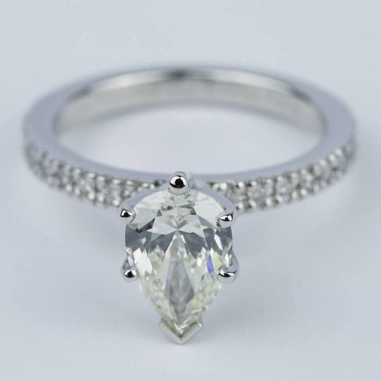 Petite Pave Pear Diamond Engagement Ring (1.20 ct.)
