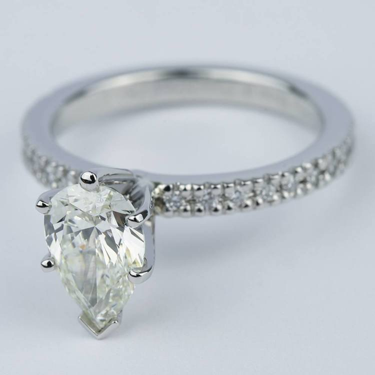Petite Pave Pear Diamond Engagement Ring (1.20 ct.) angle 2