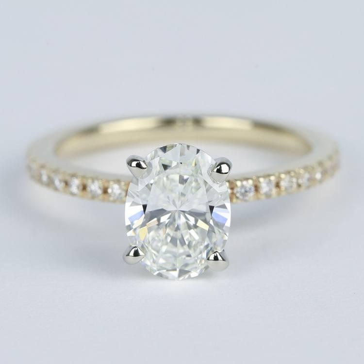 Petite Pave Oval Diamond Engagement Ring (1.50 Carat)
