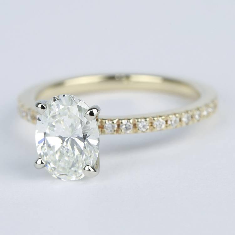 Petite Pave Oval Diamond Engagement Ring (1.50 Carat) angle 2
