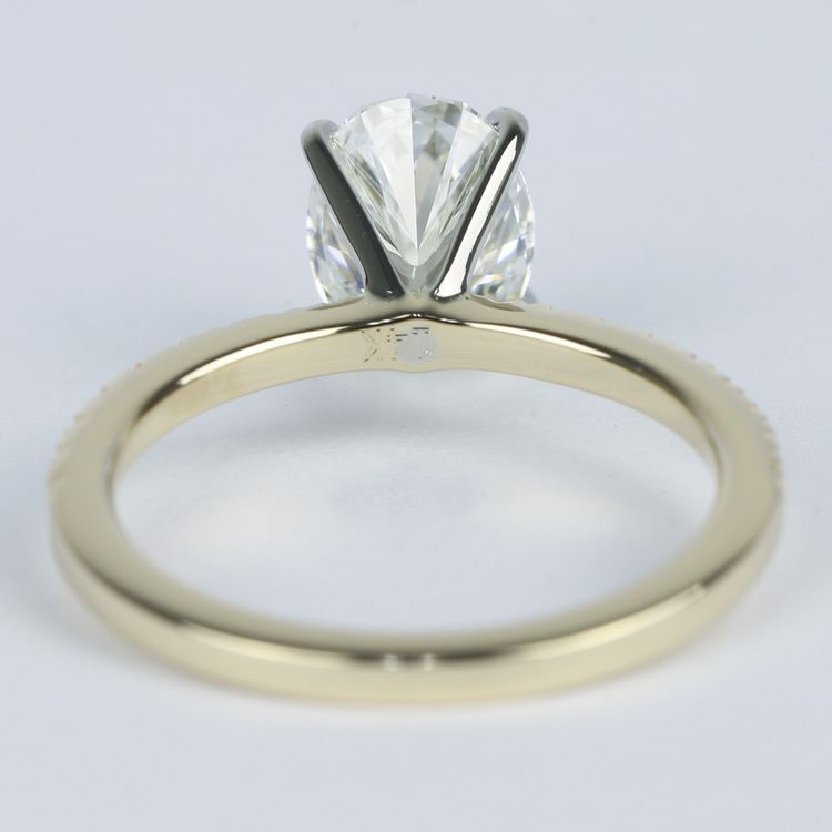 Petite Pave Oval Diamond Engagement Ring (1.50 Carat) angle 4
