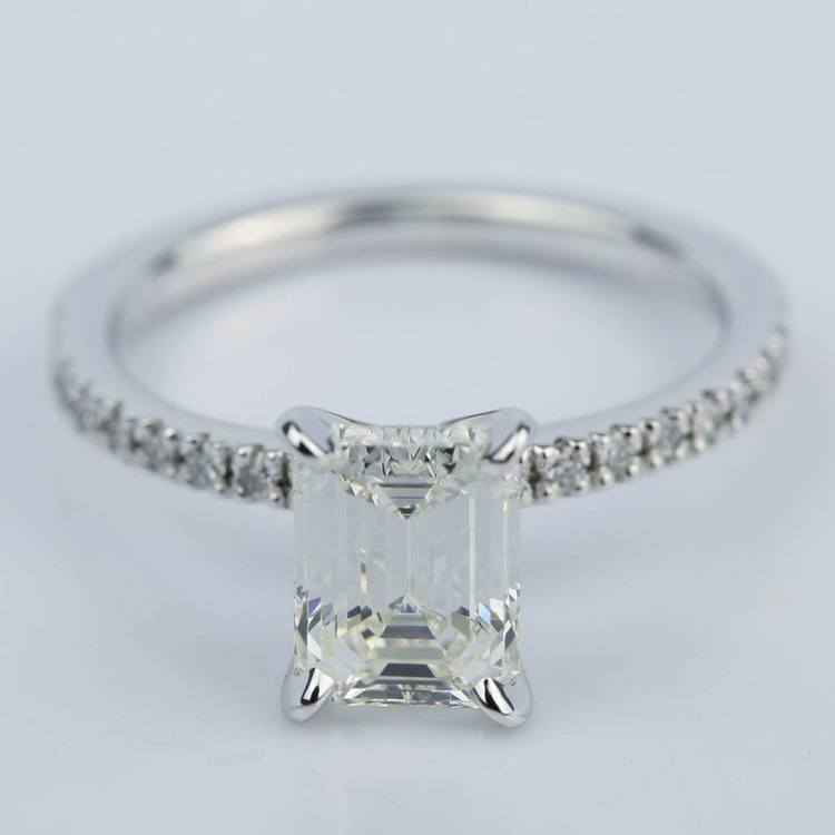 Petite Pave 1.51 Carat Emerald Diamond Engagement Ring