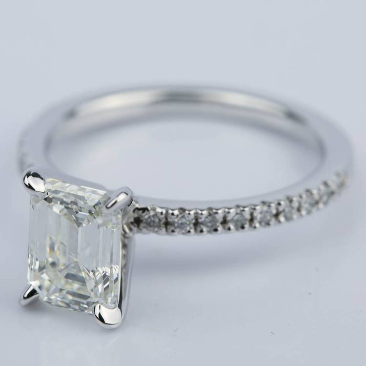 Petite Pave 1.51 Carat Emerald Diamond Engagement Ring  angle 2