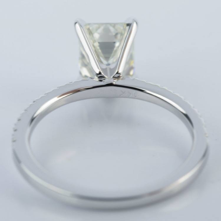 Petite Pave 1.51 Carat Emerald Diamond Engagement Ring  angle 4