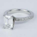 Flawless Emerald Diamond with Petite Pave Engagement Ring - small angle 2