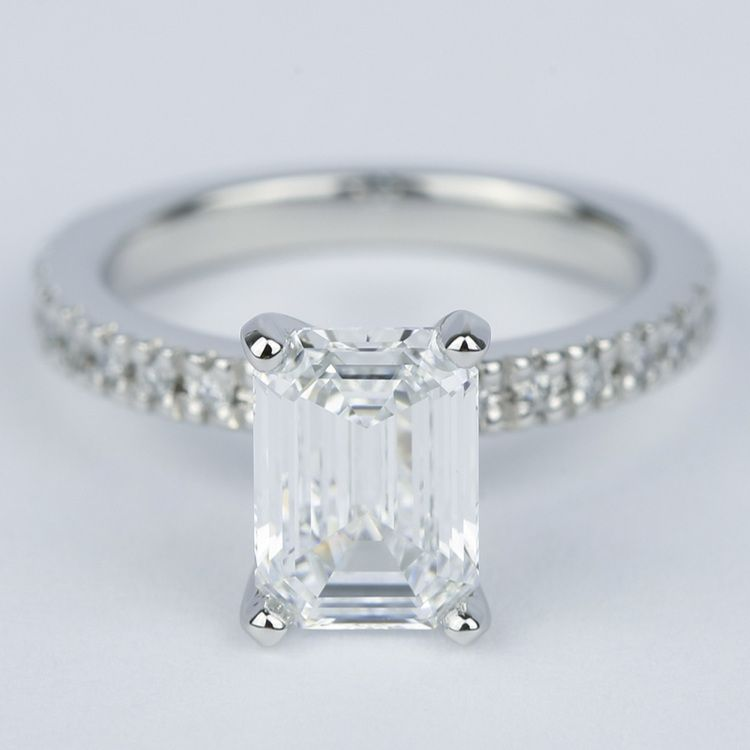 Flawless Emerald Diamond with Petite Pave Engagement Ring