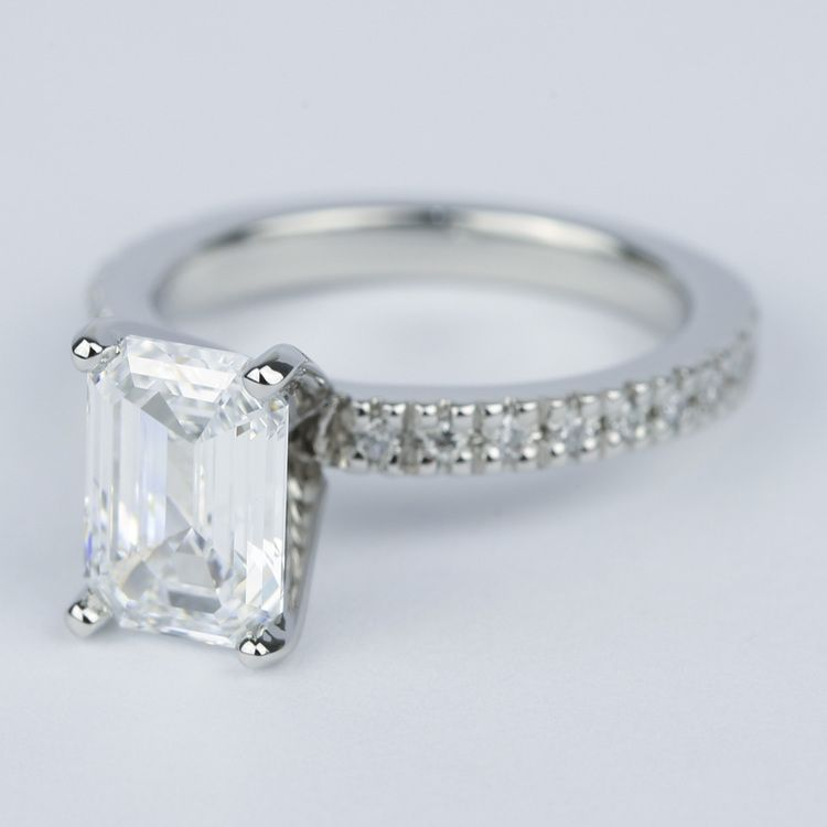 Flawless Emerald Diamond with Petite Pave Engagement Ring angle 2