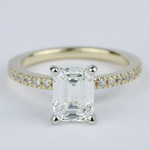 Petite Pave Emerald Cut Diamond Engagement Ring (1.72 Carat) - small