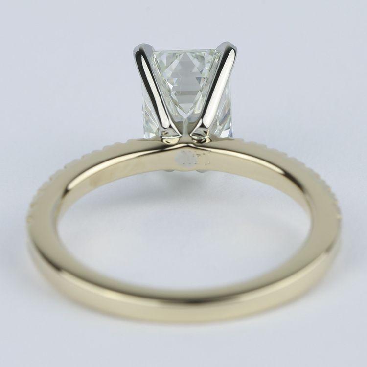 Petite Pave Emerald Cut Diamond Engagement Ring (1.72 Carat) angle 4