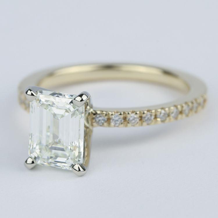Petite Pave Emerald Cut Diamond Engagement Ring (1.72 Carat) angle 2