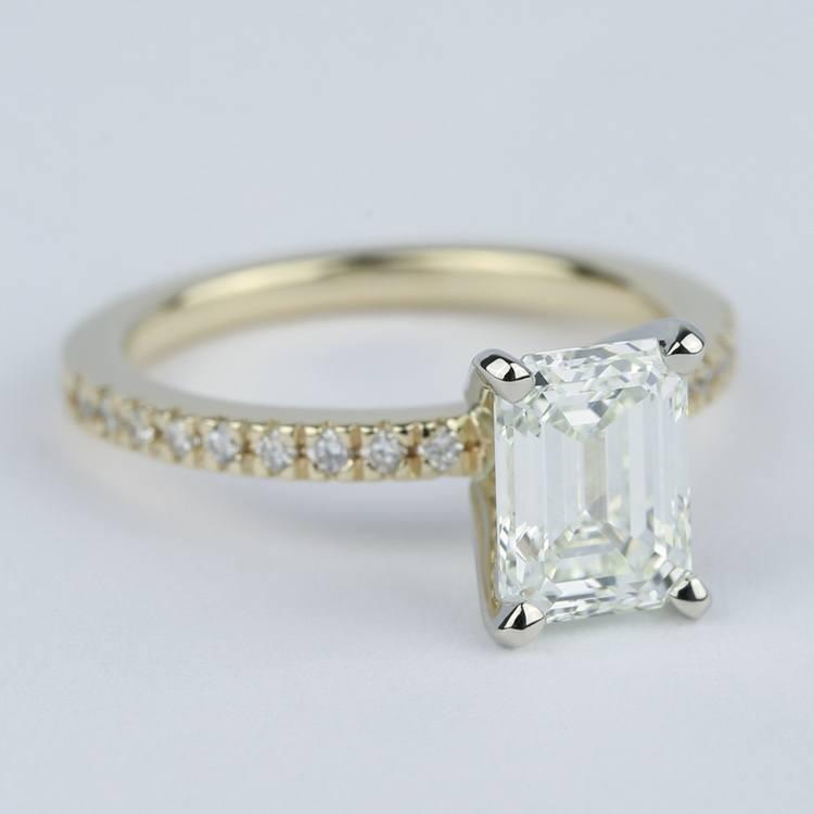 Petite Pave Emerald Cut Diamond Engagement Ring (1.72 Carat) angle 3