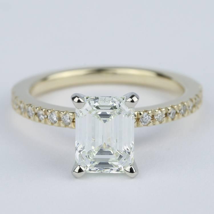 Petite Pave Emerald Cut Diamond Engagement Ring (1.72 Carat)