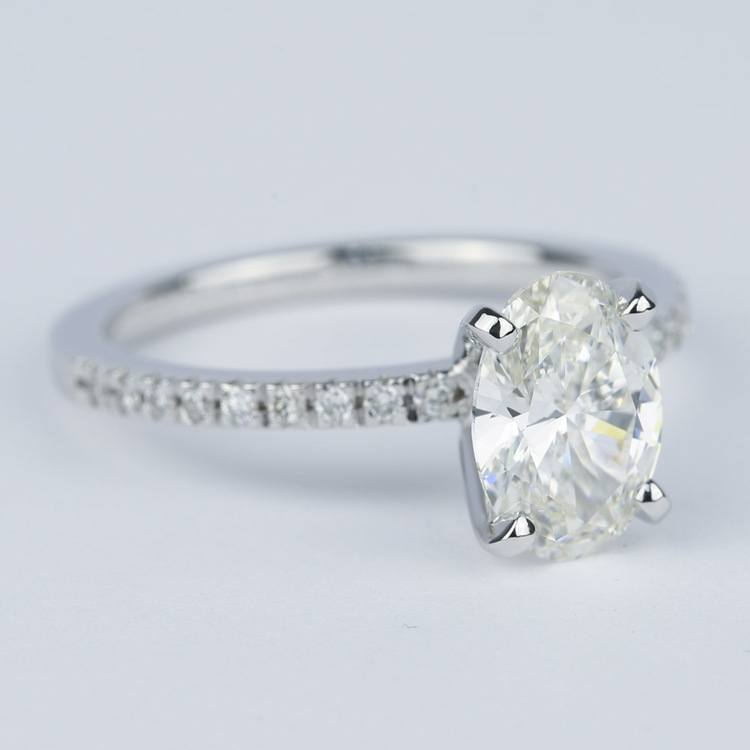 1.80 Carat Oval Diamond Petite Pave Engagement Ring angle 3