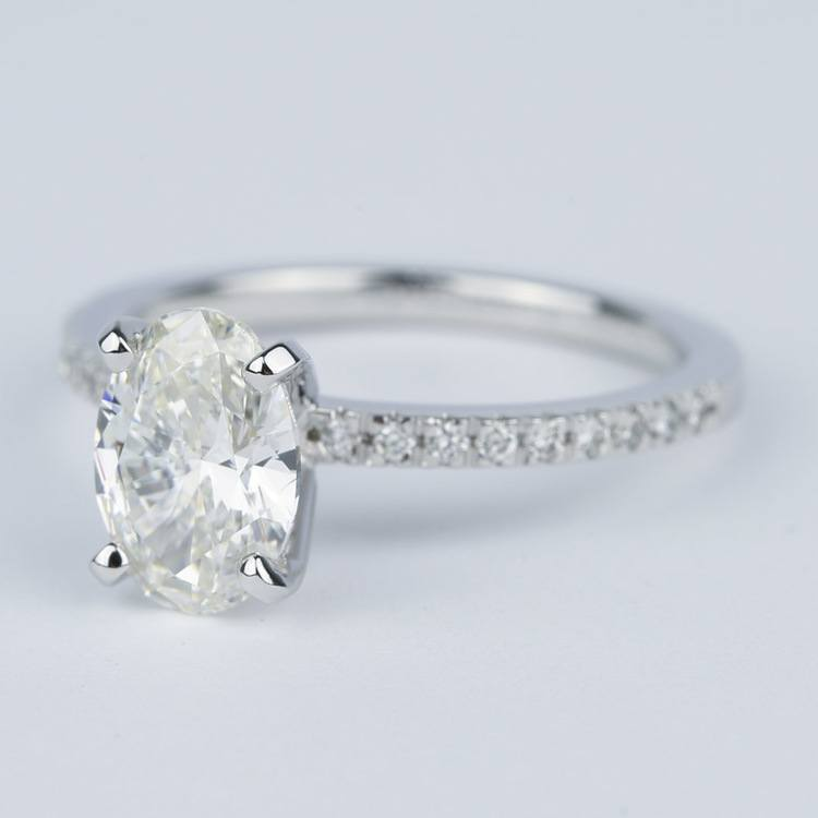1.80 Carat Oval Diamond Petite Pave Engagement Ring angle 2