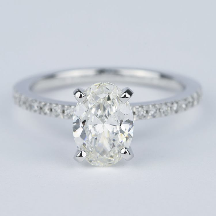 1.80 Carat Oval Diamond Petite Pave Engagement Ring