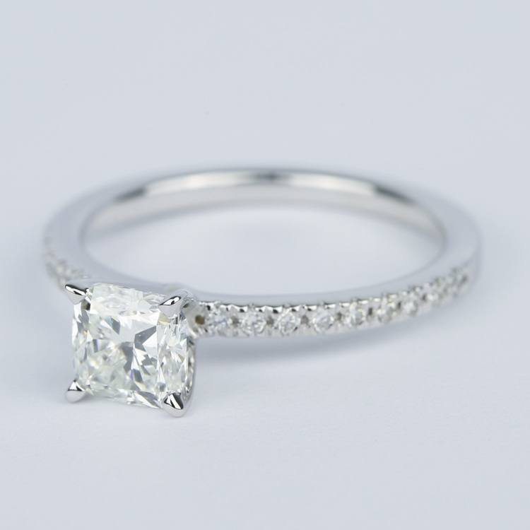 Cushion Diamond Engagement Ring with Petite Pave (1 Carat) angle 2