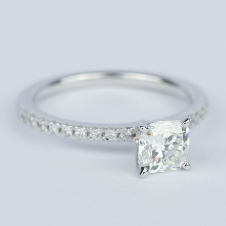 Cushion Diamond Engagement Ring with Petite Pave (1 Carat) angle 3