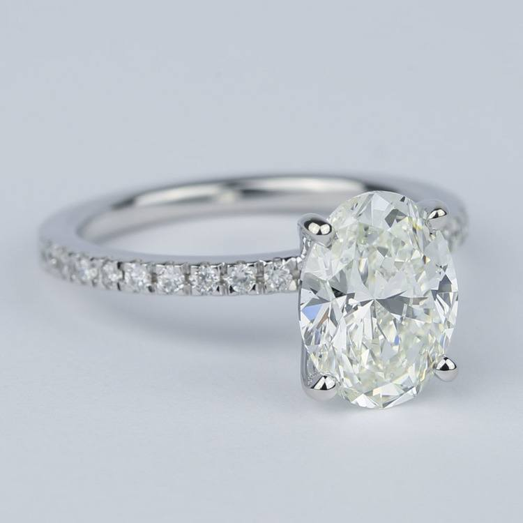 Pave Oval-Cut Diamond Engagement Ring (2 Carat) angle 3