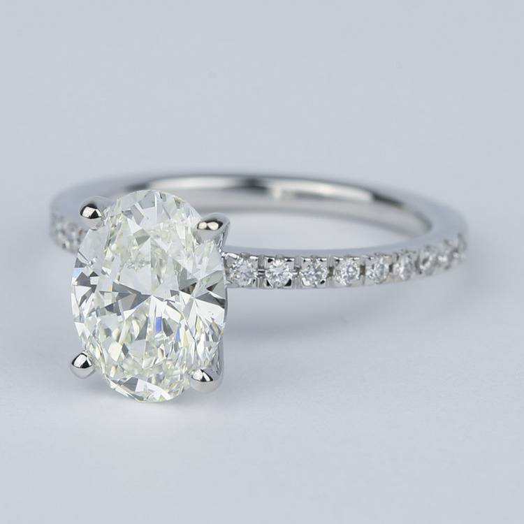 Pave Oval-Cut Diamond Engagement Ring (2 Carat) angle 2