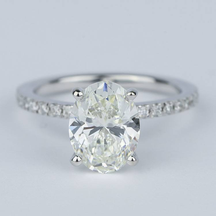 Pave Oval-Cut Diamond Engagement Ring (2 Carat)