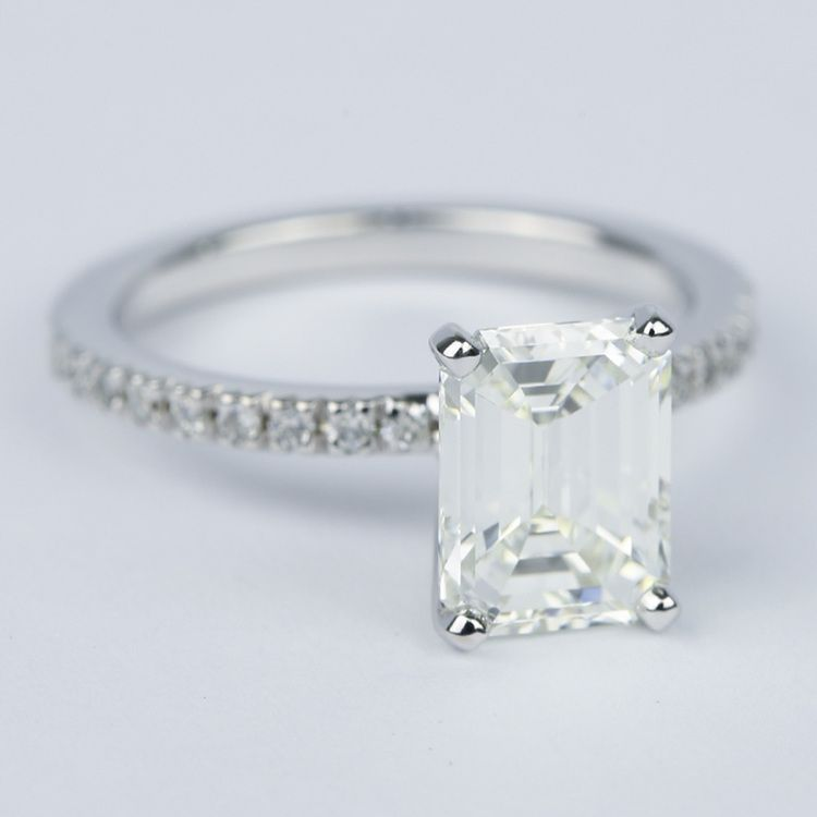 Petite Pave Emerald Diamond Engagement Ring 2 Carat