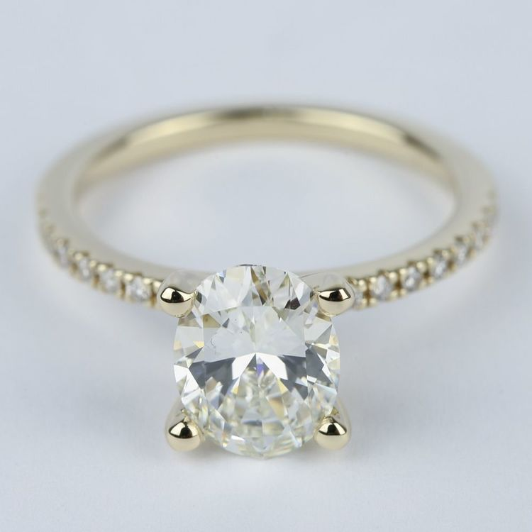 Oval Diamond with Petite Pave Engagement Ring (2 Carat)
