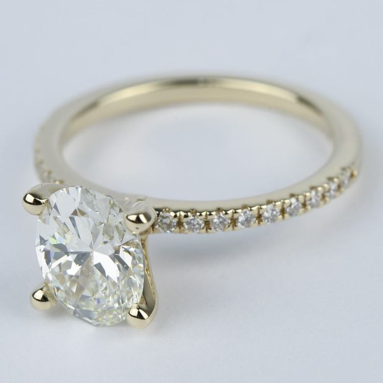 Oval Diamond with Petite Pave Engagement Ring (2 Carat) angle 2