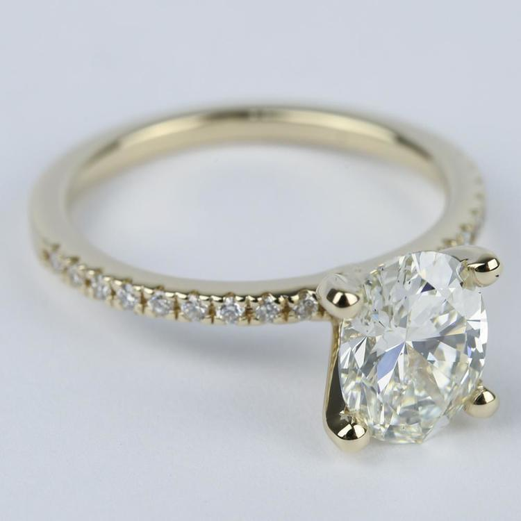 Oval Diamond with Petite Pave Engagement Ring (2 Carat) angle 3