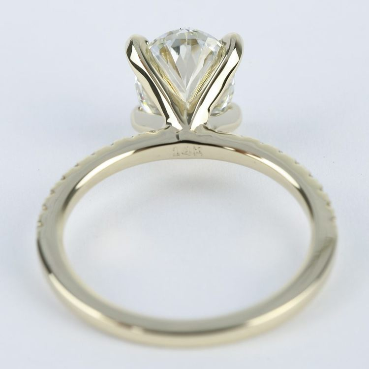 Oval Diamond with Petite Pave Engagement Ring (2 Carat) angle 4