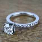 Petite Pave Diamond Engagement Ring (0.95 ct.) - small angle 2