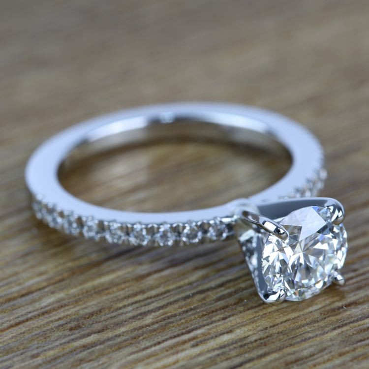 Petite Pave Diamond Engagement Ring (0.95 ct.) angle 3